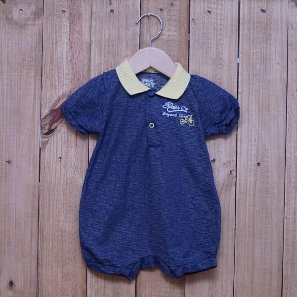 Macacão para Bebê Curto Gola Polo Bordado Azul Jeans e Amarelo