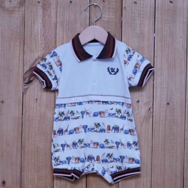 Macacão para Bebê Curto Gola Polo Bordado Estampado Zoológico