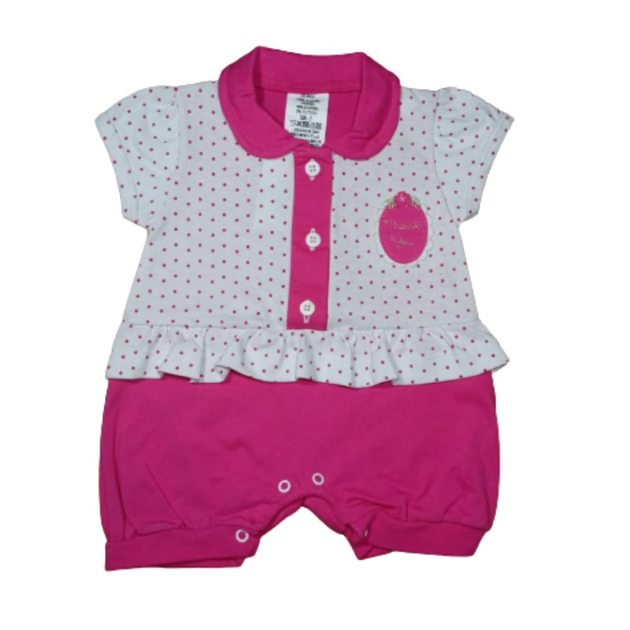 Macacão para Bebê Curto Gola Polo Poá Pink