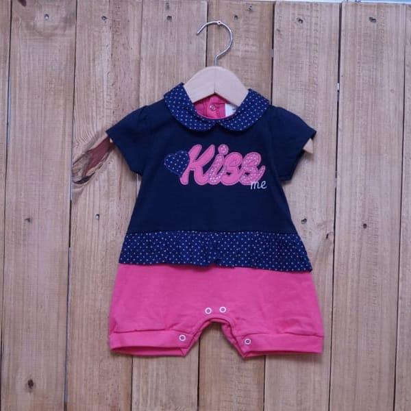 Macacão Para Bebê Curto Kiss Pink com Azul Marinho