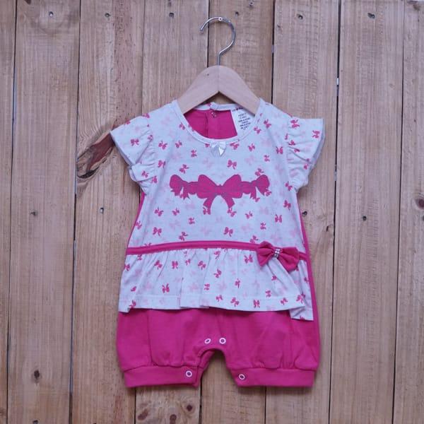 Macacão Para Bebê Curto Laços Pink