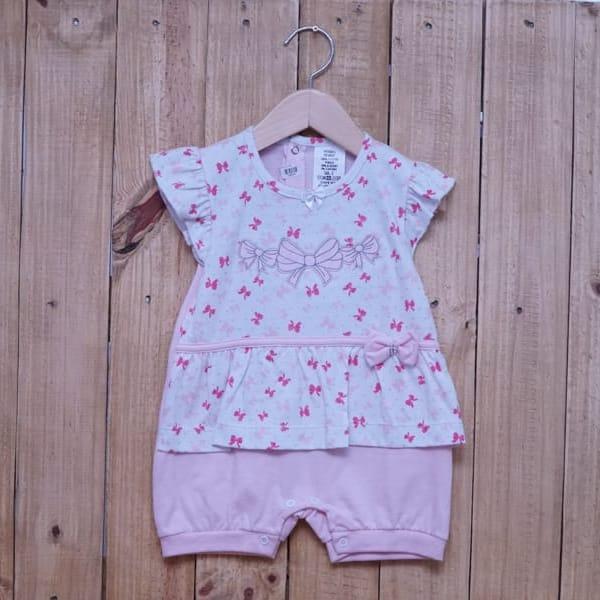 Macacão Para Bebê Curto Laços Rosa Claro