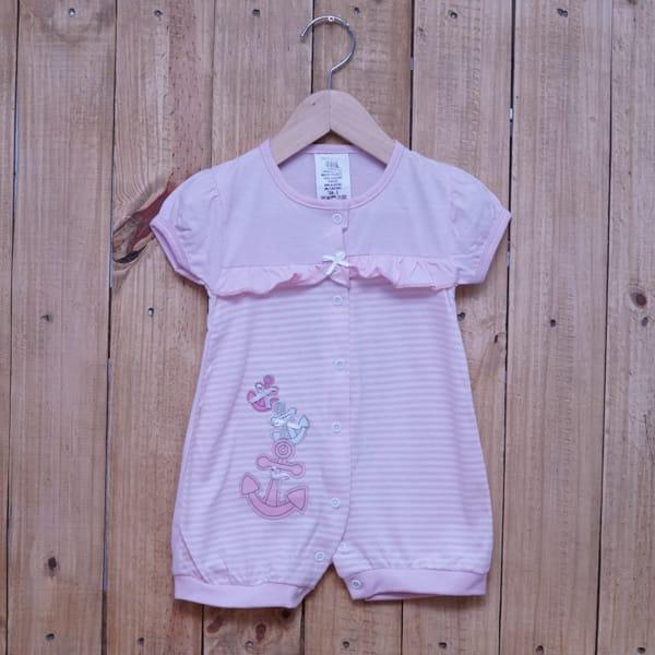 Macacão Para Bebê Curto Listrado Bordado Âncora Rosa Claro