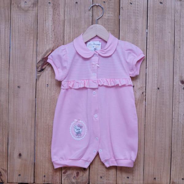 Macacão Para Bebê Curto Listrado com Bordado Gatinha Rosa Claro