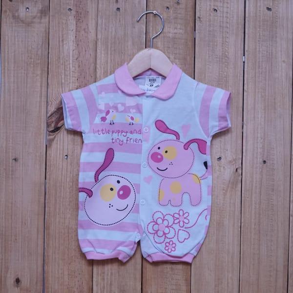 Macacão para Bebê Curto Listrado e Estampado Rosa Claro com Branco