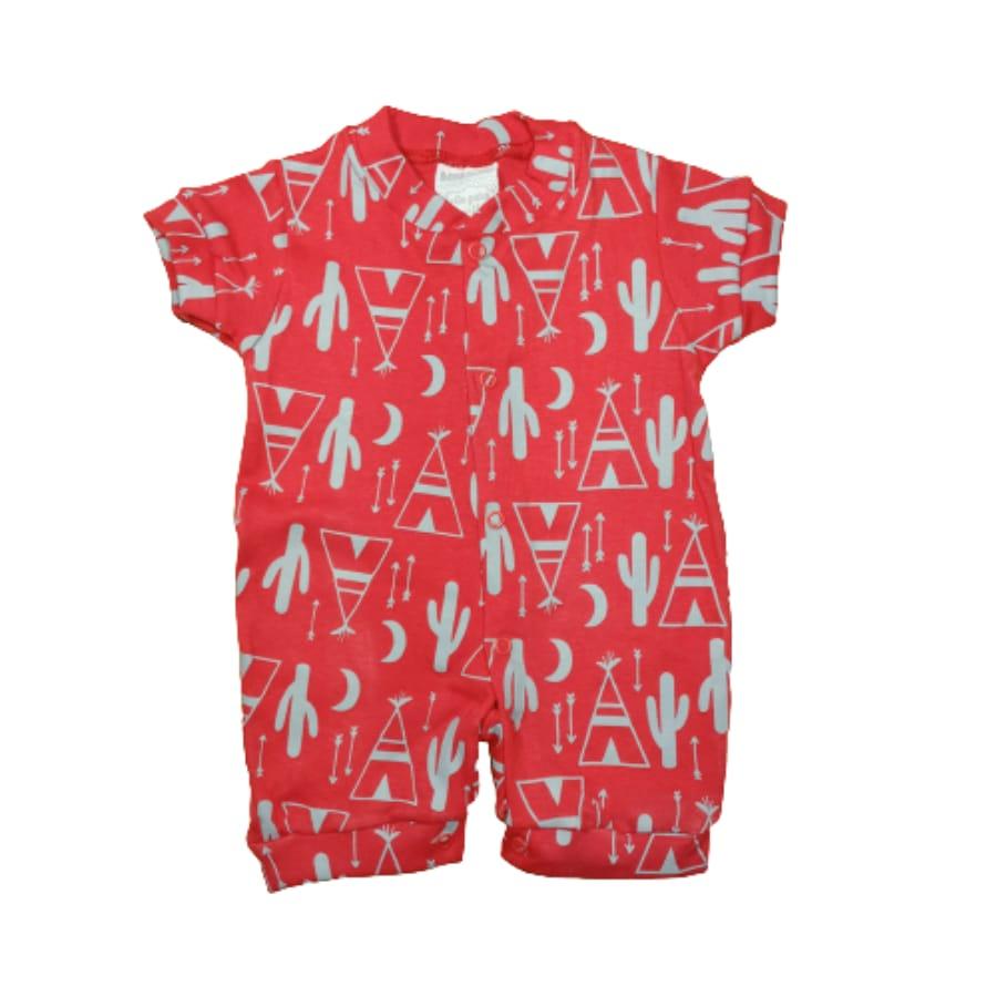 Macacão para Bebê Curto Minimalista Cactos