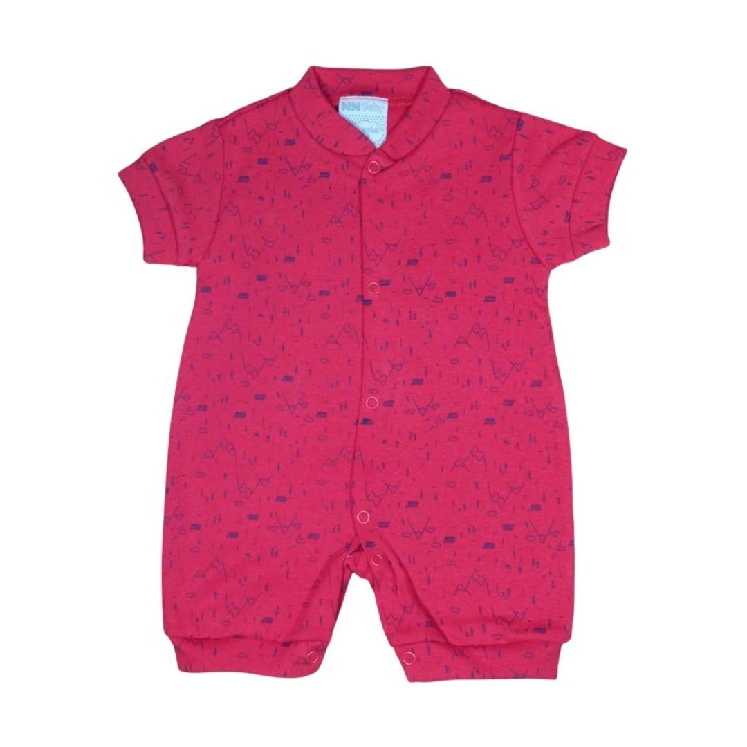 Macacão para Bebê Curto Minimalista Vermelho