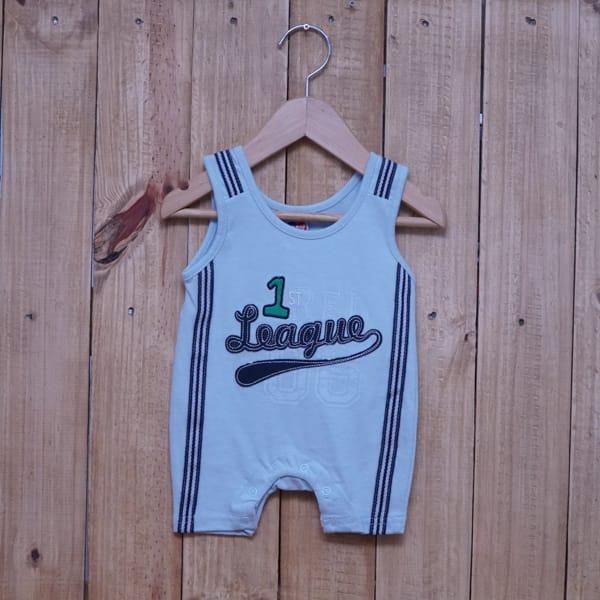 Macacão para Bebê Curto Regata Bordado Azul Claro