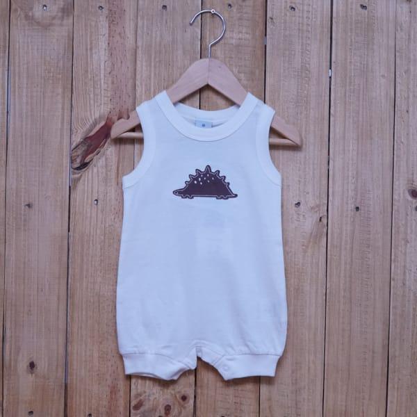 Macacão para Bebê Curto Regata Bordado Dino Off White