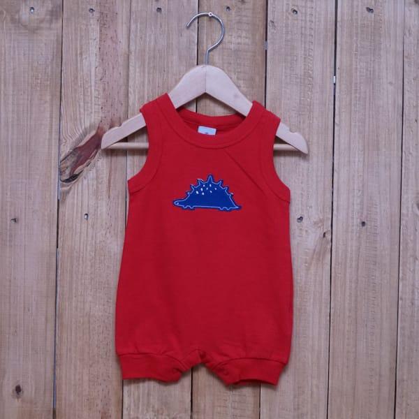 Macacão para Bebê Curto Regata Bordado Dino Vermelho