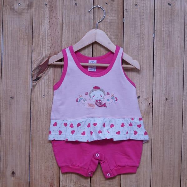 Macacão para Bebê Curto Regata Bordado e Estampado Sereia Rosa Claro com Pink