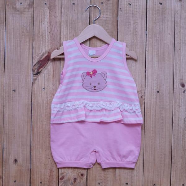 Macacão para Bebê Curto Regata Bordado Gatinha Listrado com Renda Rosa com Branco