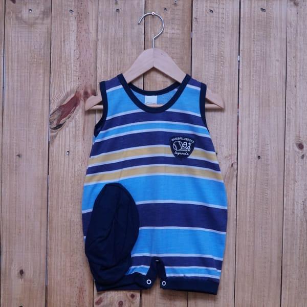 Macacão para Bebê Curto Regata Bordado Listrado Azul Claro Amarelo e Azul Marinho