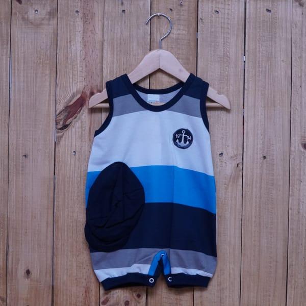 Macacão para Bebê Curto Regata Bordado Âncora Listrado Cinza Azul Escuro e Azul Marinho