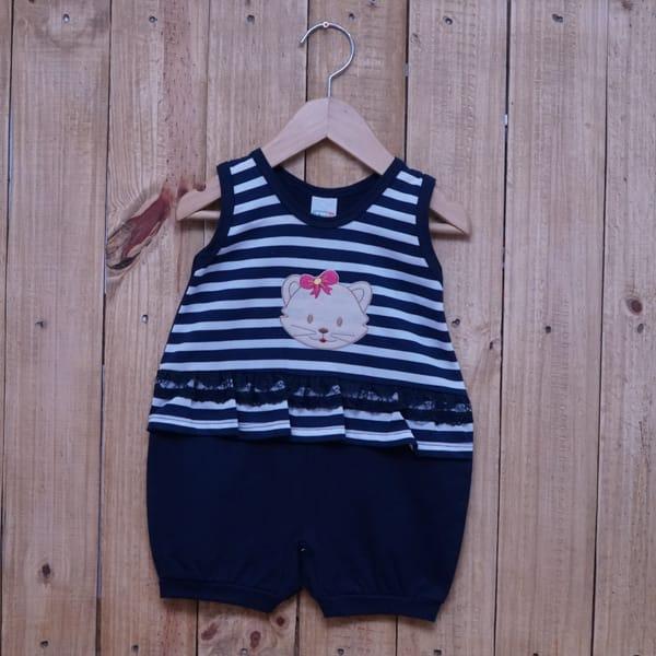 Macacão para Bebê Curto Regata Bordado Gatinha Listrado com Renda Azul Marinho com Branco
