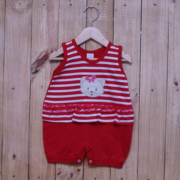 Macacão para Bebê Curto Regata Bordado Gatinha Listrado com Renda Vermelho com Branco