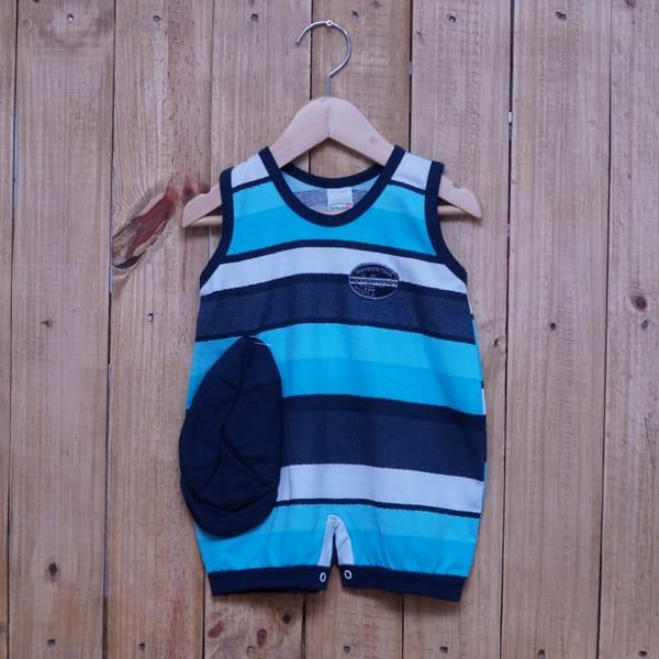 Macacão para Bebê Curto Regata Bordado Listrado Tiffany Branco e Azul Marinho