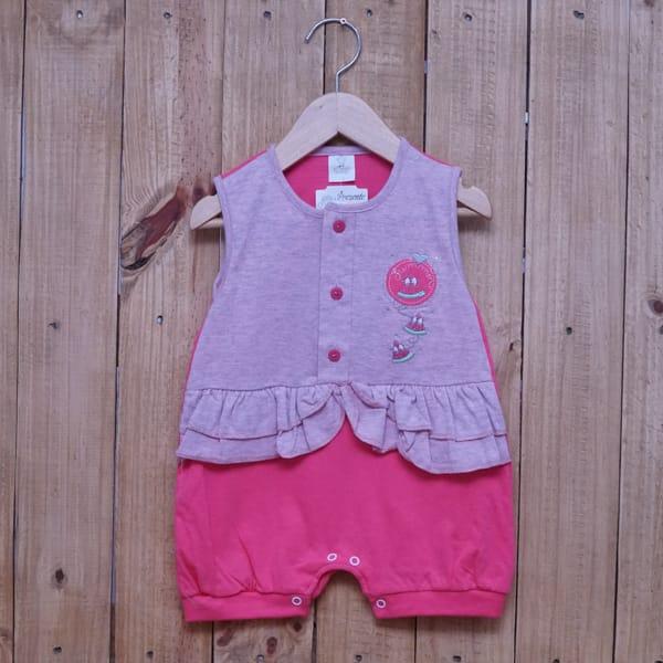 Macacão para Bebê Curto Regata Bordado Melancia Rosa Claro com Pink