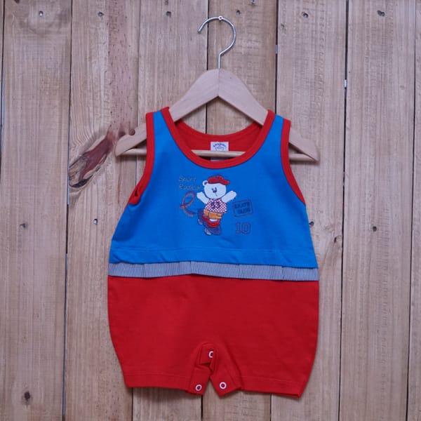 Macacão para Bebê Curto Regata Bordado Sport Radical Azul Escuro com Vermelho