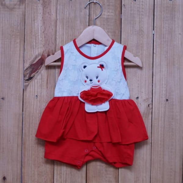 Macacão para Bebê Curto Regata Bordado Ursa Bailarina Vermelho com Branco