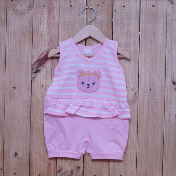 Macacão para Bebê Curto Regata Bordado Ursa com Coroa Listrado Rosa com Branco
