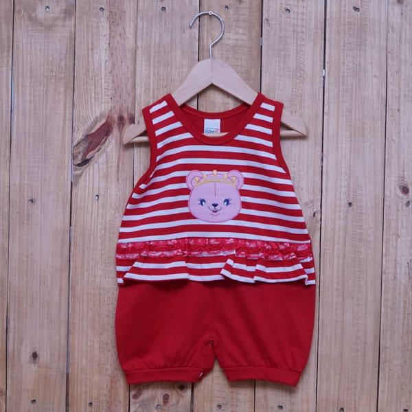 Macacão para Bebê Curto Regata Bordado Ursa com Coroa Listrado Vermelho com Branco