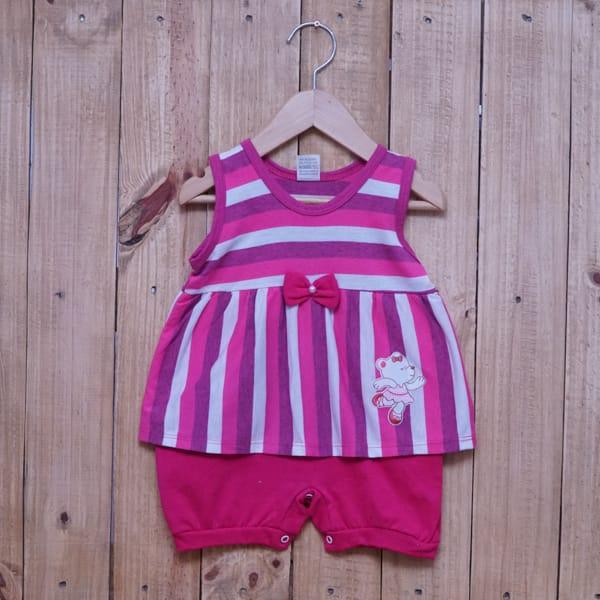 Macacão para Bebê Curto Regata Bordado Ursinha e Listrado Pink