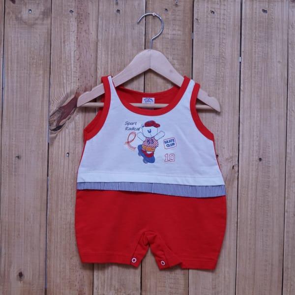 Macacão para Bebê Curto Regata Bordado Sport Radical Branco com Vermelho