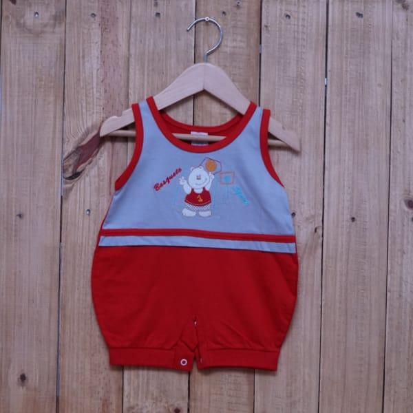 Macacão para Bebê Curto Regata Bordado Urso Basquete Cinza com Vermelho