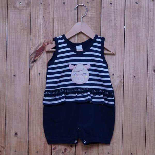 Macacão para Bebê Curto Regata Bordado Vaquinha Listrado com Renda Azul Marinho com Branco