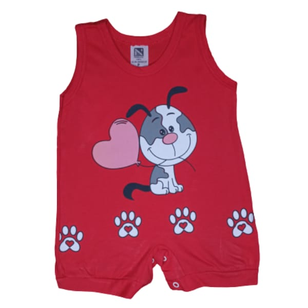 Macacão para Bebê Curto Regata Cachorrinho Vermelho