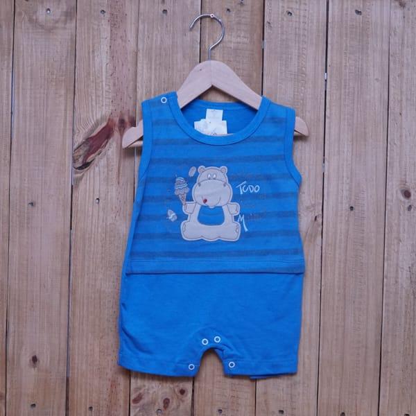 Macacão para Bebê Curto Regata Hipopótamo com Sorvete Azul Escuro