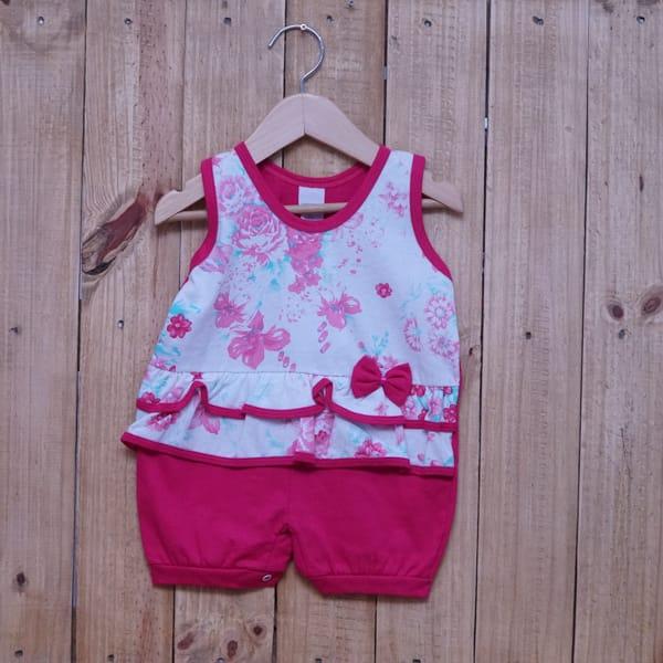 Macacão para Bebê Curto Regata Estampado Flores com Lacinho Pink