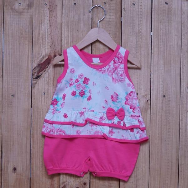 Macacão para Bebê Curto Regata Estampado Flores com Lacinho Rosa