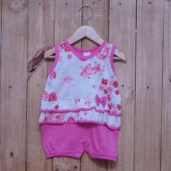 Macacão para Bebê Curto Regata Estampado Flores com Lacinho Rosa Escuro