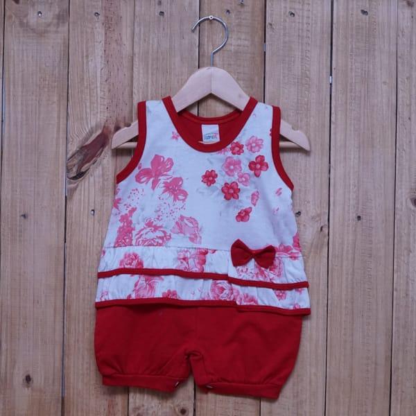 Macacão para Bebê Curto Regata Estampado Flores com Lacinho Vermelho