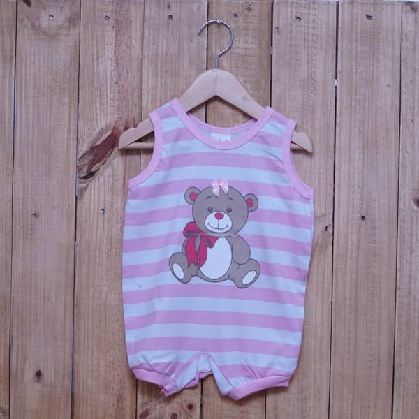 Macacão para Bebê Curto Regata Listrado Estampa Ursa Rosa Claro