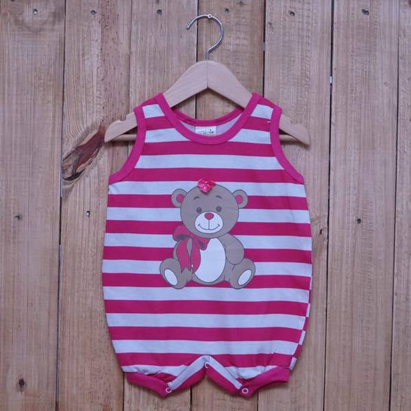 Macacão para Bebê Curto Regata Listrado Estampa Ursa Rosa Escuro