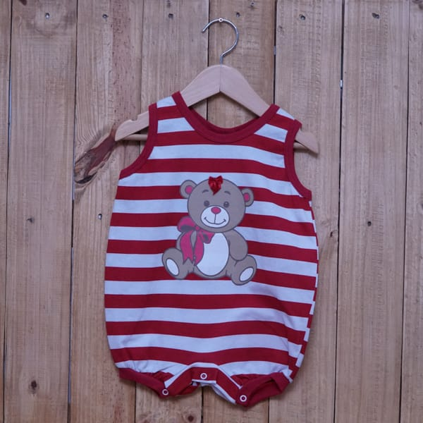 Macacão para Bebê Curto Regata Listrado Estampa Ursa Vermelho