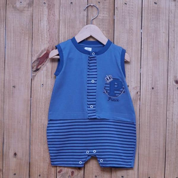 Macacão para Bebê Curto Regata Prince Azul Escuro com Azul Marinho