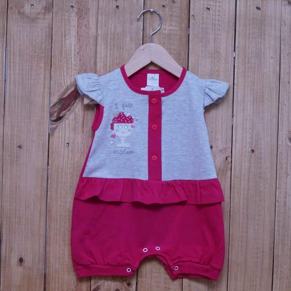 Macacão Para Bebê Curto Sorvete Cinza com Pink