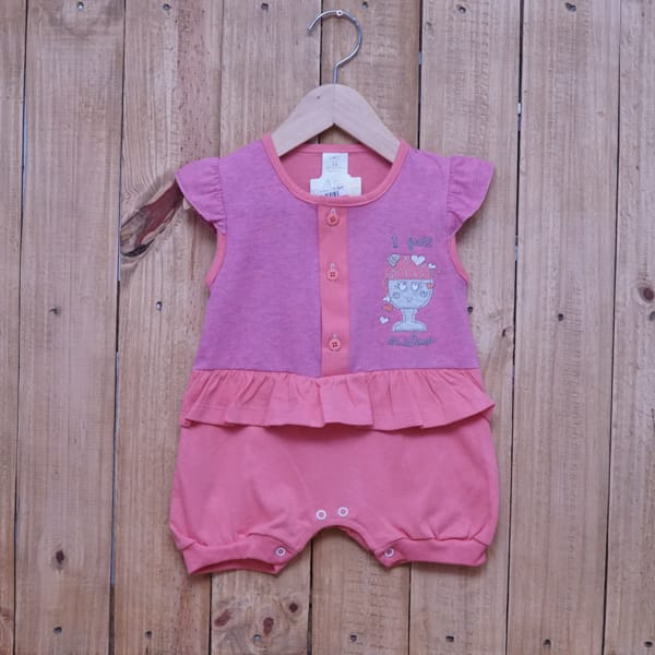 Macacão Para Bebê Curto Sorvete Rosa Escuro com Salmão
