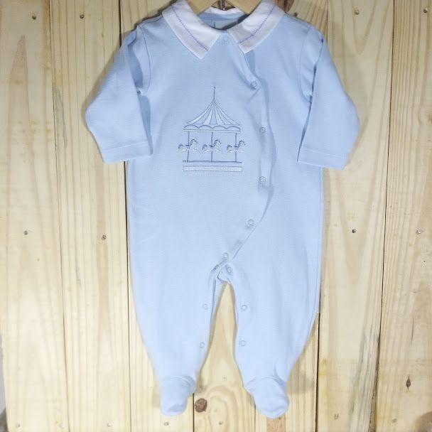 Macacão para Bebê em Malha 100% Algodão Azul Bebê