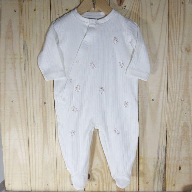 Macacão para Bebê em Malha 100% Algodão Off White Ursinhos