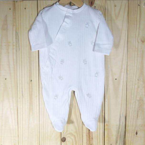 Macacão para Bebê em Malha 100% Algodão Ursinhos Branco