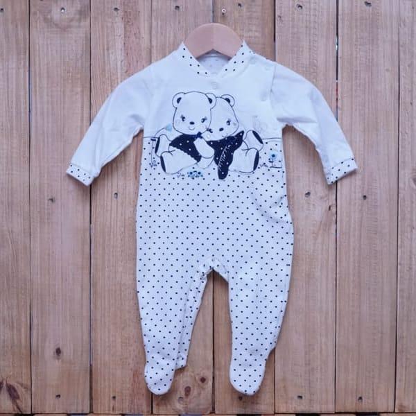 Macacão para Bebê em Malha com Bordado Ursa Marinho com Off