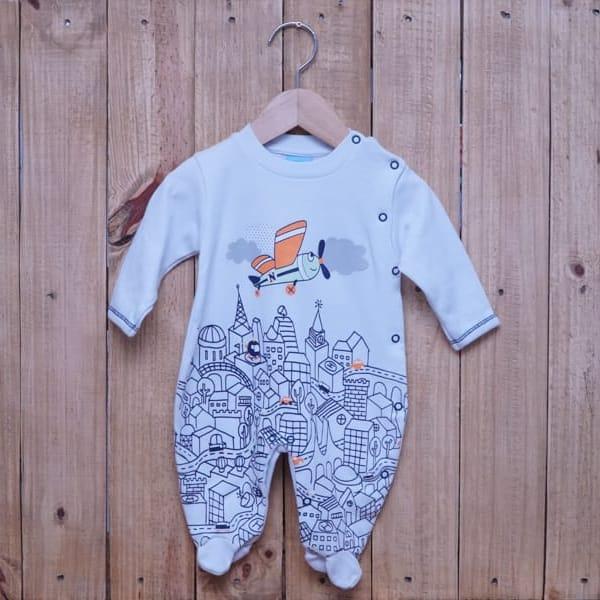 Macacão para Bebê em Malha com Estampa Avião Branco