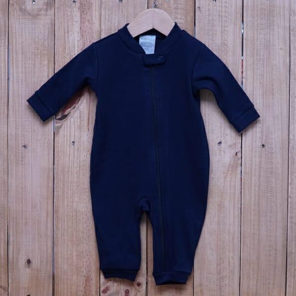 Macacão para Bebê em Malha com Zíper Azul Marinho