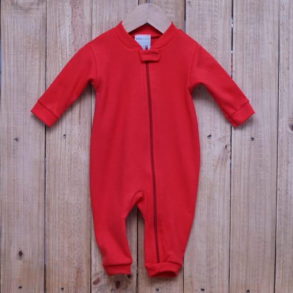 Macacão para Bebê em Malha com Zíper Vermelho