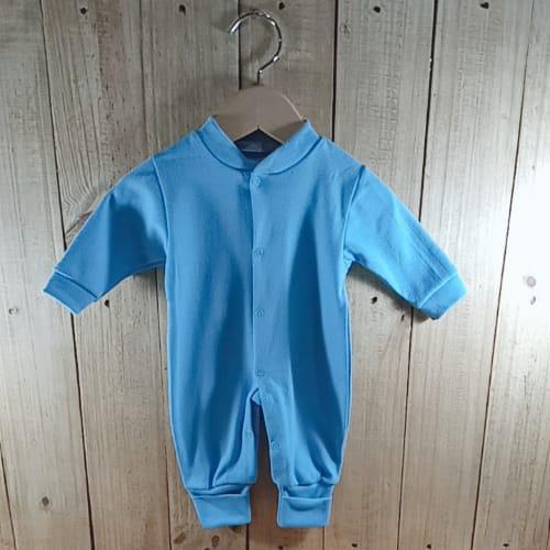 Macacão para Bebê em Malha Liso Azul Claro